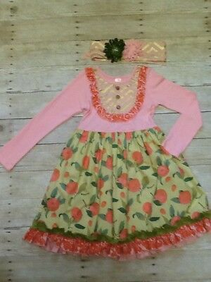 Giggle Moon Peach Pink Green Ruffle Dress Headband 10