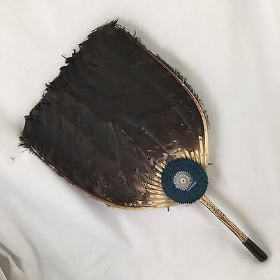 Antique Qing Dynasty Fan Chinese Pien Mien Iridescent Gray Duck Feather Vintage