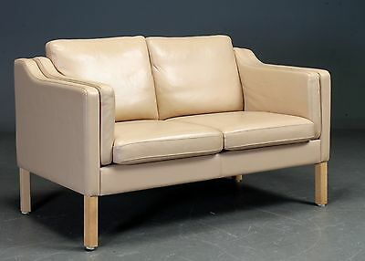 Danish 2  seater sofa upholstered  in light colour leather
