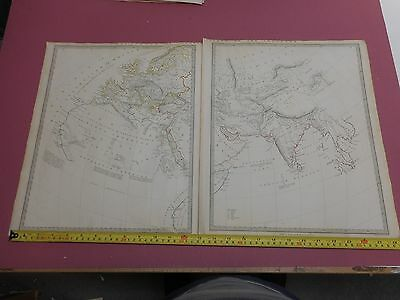 100% Original World Maps X2 Of Ancient World  By Sduk C1841Vgc