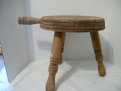 Vintage / Antique Wooden Three Legged Milking Stool Primitive