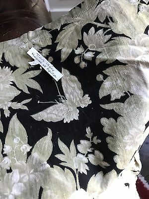 "Antique French Toile Butterflies Black Curtain panel c1880s Brise Bise 10""/48"""