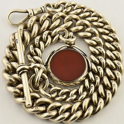 Heavy Antique Solid Silver Albert Pocket Watch Chain w Swivel Fob c1900