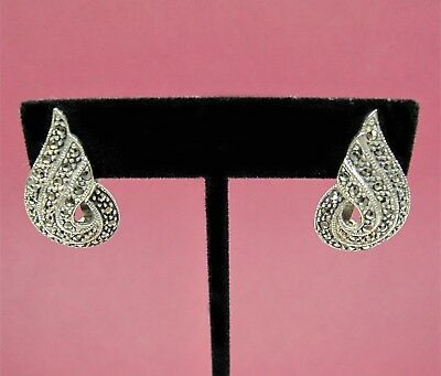 "Marsala MC Sterling Silver Shiny Marcasite 1 1/8"" Clip-On Earrings 8.9g"
