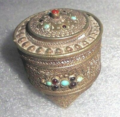 fine old Nepal siver religious Buddhist box set with real gems