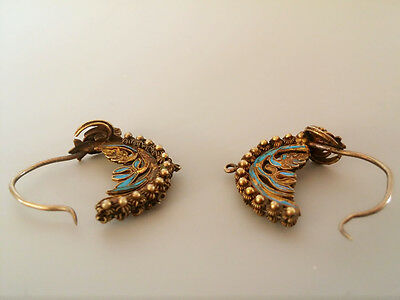 Pair of Phoenix Kingfisher Earrings, Qing Dynasty, 18th/19th Centry