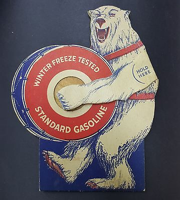 1930s Standard Gasoline Oil Co Winter Bear Drum Paper Clapper Toy Promo Vtg