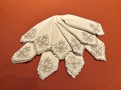 Vintage Madeira Embroidered / Cut Out Ivory and Taupe Edged Linen Dinner Napkins