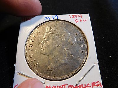 INV #M19 Hong Kong 1894 50 Cents Cleaned & Mount Mark Reverse