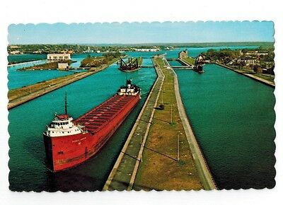 Great Lakes Ship Postcard - Horace Johnson Ore Freighter At Soo Locks