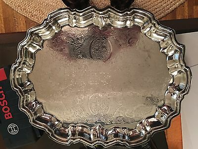 "Silver Plated 14.5"" x 11 3/8"" Serving Tray with feet"
