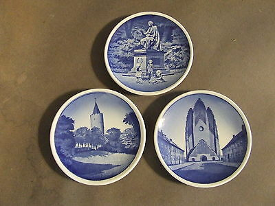 Lot Of 3 Delft Blue Small Decorative Plates Marked Denmark (Points Of Interest)