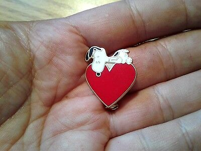 Vintage Aviva Snoopy and Red Heart Pin