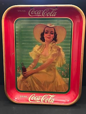 Original 1938 Coca Cola Tray Lady In The Yellow Dress N.r.
