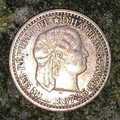 Haiti 10 Centimes 1887 - XF, Scarce Coin, 2nd Lowest Year, Silver