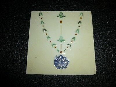 "Antique ""SHERWIN"" ENGLAND -- Arts & Crafts Art Nouveau Majolica Tile #2"