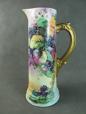 "c1900 Austrian Porcelain Handpainted 13 1/2"" TANKARD Pitcher BLACKBERRY Motif"