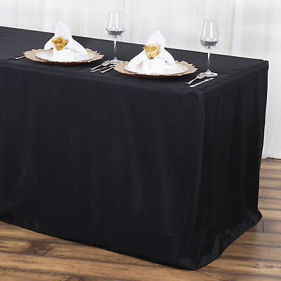 24 x FITTED 6 ft POLYESTER TABLECOVERS Party Tradeshow Wholesale Tablecloths