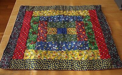 Antique Stitched early 1900's ? Calico Doll Quilt Nice colors stored well