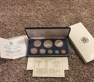 Jamaica 1974 8 Coin Proof Set Case COA Silver Coins