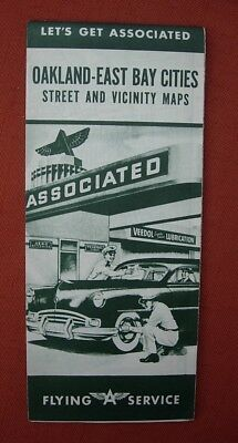 1940's FLYING A Map OAKLAND EAST BAY CITIES CA Tide Water Oil Co