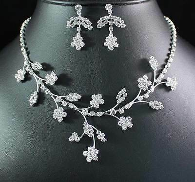 Plum Blossom Austrian Rhinestone Crystal Necklace Earrings Set Bridal Prom N1869