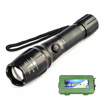 5000LM CREE T6 LED Torch Zoomable Military Flashlight Lamp FREE 18650 & Charger