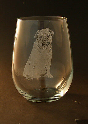 Etched Pug on Stemless Wine Glasses (set of 2)