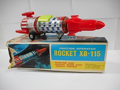 1960S Horikawa Friction Operated Tin Toy Rocket Xb-115 Complete With Box / Japan