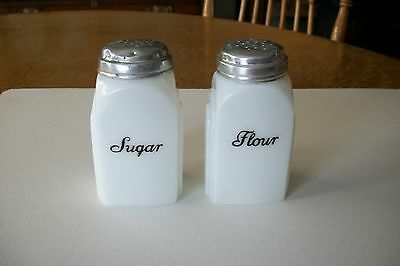 Vintage Mckee Roman Arch White  Sugar And Flour Shakers