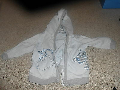 Next Baby Boy 9-12 Months Blue Long Sleeved Hooded Zip Fasten Jacket (Ex Cond)