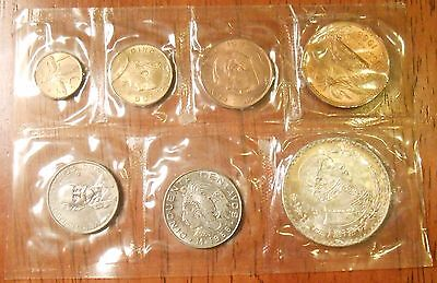1966 Mexican Silver Pesos Uncirculated 7 Coin (Sealed In Plastic) Mint Set