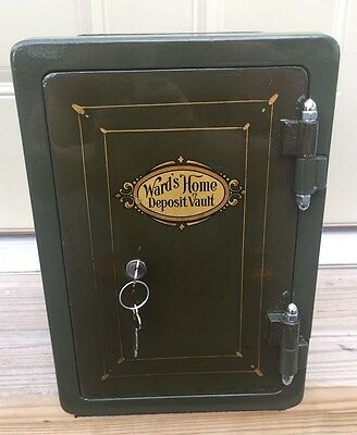 Rare Antique Restored Wards Home Deposit Vault Safe Very Small