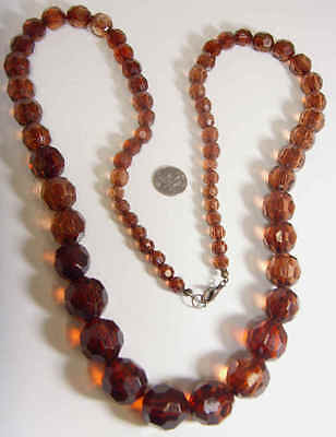 early 1900s antique amber extra large faceted beads necklace 35 inch 43932