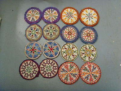 16 ext large 7.5 to 6 inch antique central Asia tribal beaded mandalas lot 47661