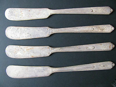 Antique (4) OLD Reed & Barton Butter Knife Set - Old Mark - Silverplate - RARE