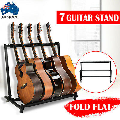 7 GUITAR STAND - MULTIPLE INSTRUMENT Display Rack Folding Padded Organizer