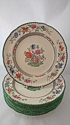 "Set of EIGHT Copeland Spode Chinese Rose 9253 9 1/8"" Luncheon Plates"