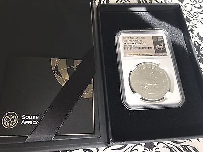 2017 KRUGERRAND SILVER PROOF NGC PF70 50th ANNIVERSARY ~Rare Krugerrand Label~