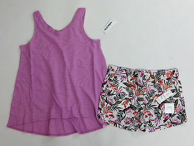 NWT Kid Girls Old Navy Size Small 6-7 Purple Tank Top Shirt & Flower Shorts 7