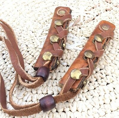 Native American HAIR TIES Leather Braid Indian Ponytail Brown Old Bead Vintage