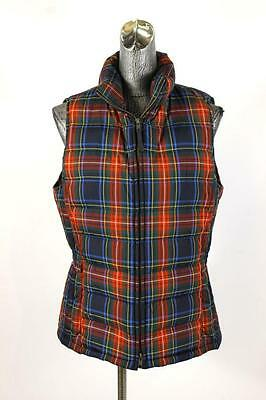 women red plaid TALBOTS vest sleeveless jacket outerwear coat warm down filled S