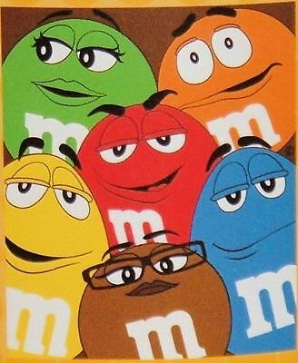 """M&M's World Character Group Blanket, Brown Background - 60"""" X 50"""" - BNIP"""