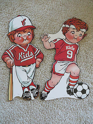 Vintage Campbells Kids Soup Advertising Cutouts  Store Sign SOCCER & BASEBALL