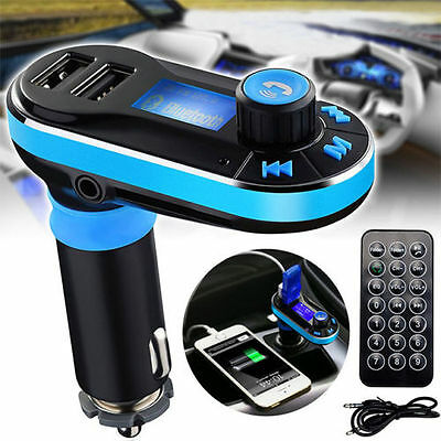 Car Bluetooth FM Transmitter Wireless MP3 Radio Player Charger Kit w/ Dual USB