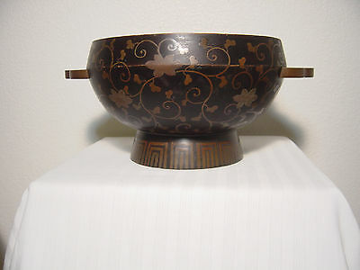Antique Japanese hand-painting  Makie Lacquer 2 Ears Footed Bowl