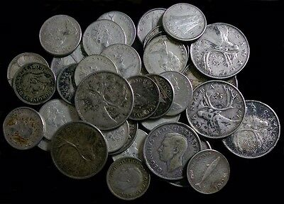 (10) Canadian Silver Quarters & (28) Canadian Silver Dimes