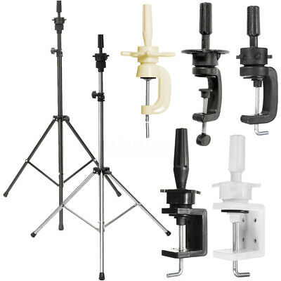 Hairdressing Practice Training Head Holder Tripod Stand Clamp Rack Adjustable