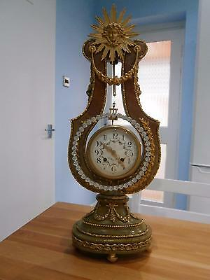 French Mystery Lyre Clock ormolou & Green Variagated Marble Serviced & Restored