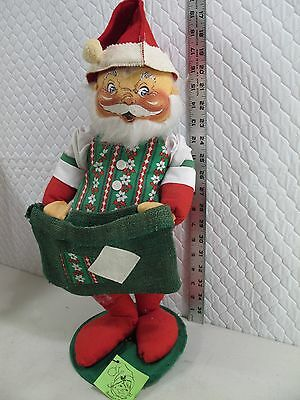 """60's Mobilitee W Tag Vintage Annalee Doll Santa Claus Card Holder  Pouch 18"""" H"""